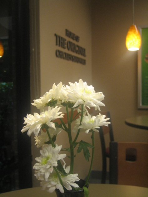 Chick-fil-A always puts fresh flowers on the table